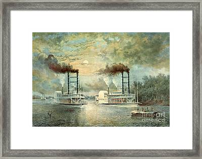 Mississippi Steamboat Race 1859 Framed Print by Padre Art