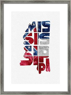 Mississippi Typographic Map Flag Framed Print