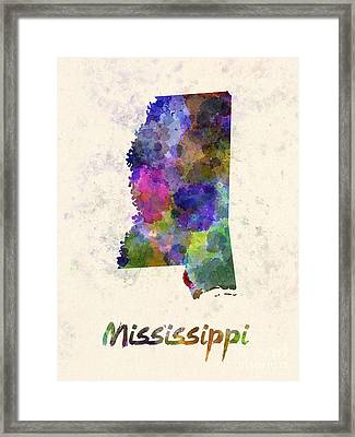 Mississippi Us State In Watercolor Framed Print by Pablo Romero