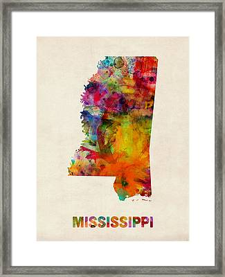 Mississippi Watercolor Map Framed Print by Michael Tompsett