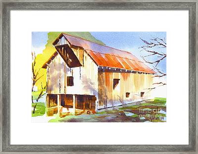 Missouri Barn In Watercolor Framed Print by Kip DeVore