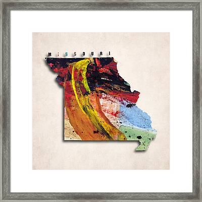 Missouri Map Art - Painted Map Of Missouri Framed Print by World Art Prints And Designs