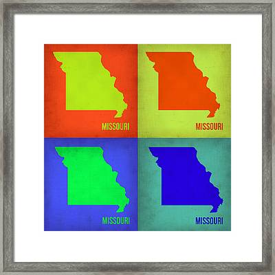 Missouri Pop Art Map 1 Framed Print by Naxart Studio
