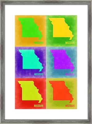 Missouri Pop Art Map 2 Framed Print by Naxart Studio