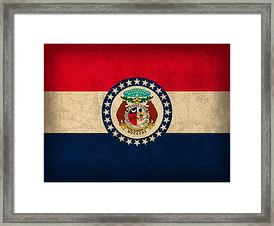 Missouri State Flag Art On Worn Canvas Framed Print by Design Turnpike