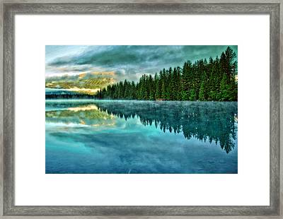 Mist And Moods Of Lake Beauvert  Framed Print