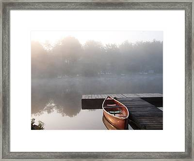 Mist Floating Over The Lake Framed Print by Catherine Gagne