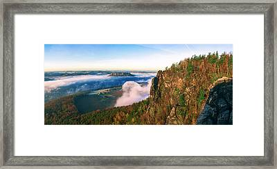Mist Flow Around The Fortress Koenigstein Framed Print