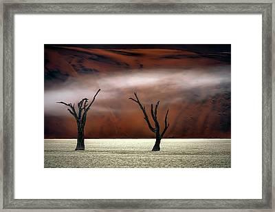 Mist In The Desert Framed Print