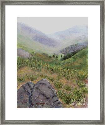 Mist In The Glen Framed Print by Laurie Morgan