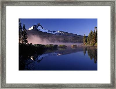 Mist Off Of Big Lake Framed Print