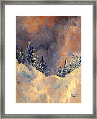 Mist On The Snow Peak Framed Print