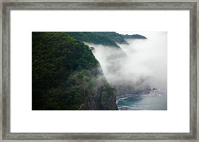 Framed Print featuring the photograph Mist Over Kitayamazaki by Brad Brizek