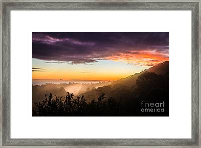 Mist Rising At Dusk Framed Print