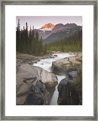 Mistaya Canyon And Mount Sarbach Framed Print