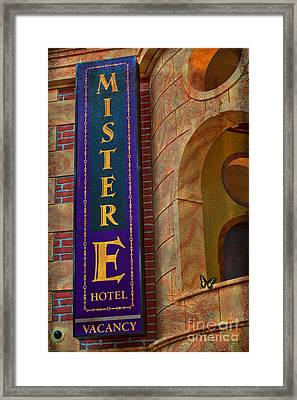 Mister E Hotel - Vacancy Sign Framed Print