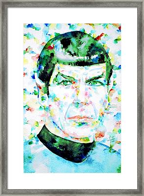 Mister Spock  Watercolor Portrait Framed Print by Fabrizio Cassetta