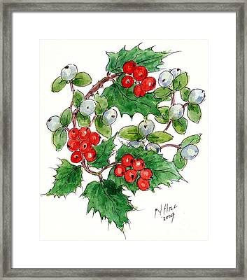 Mistletoe And Holly Wreath Framed Print by Nell Hill