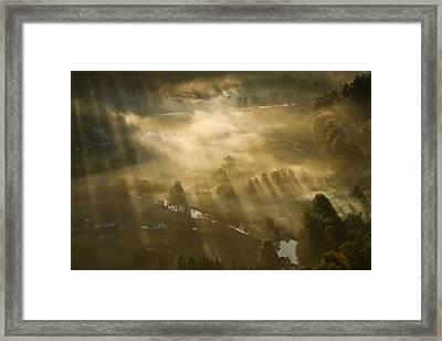 Mist,light And Silence. Framed Print