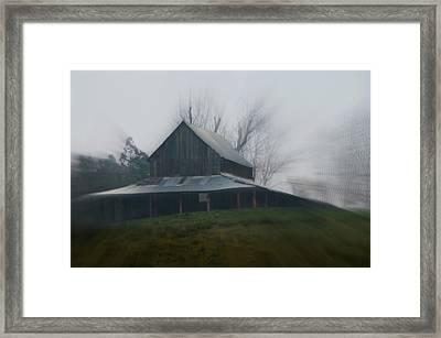 Misty Barn Framed Print