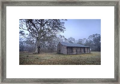 Misty Barn Framed Print by Steve Caldwell