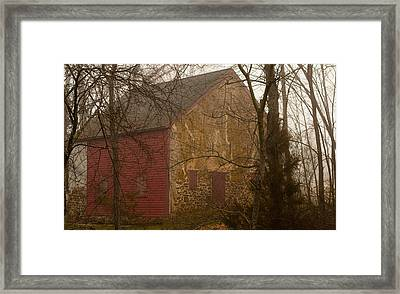 Misty Batsto Barn Framed Print by Kristia Adams