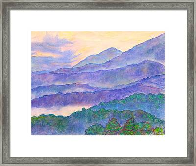 Misty Blue Ridge Framed Print by Kendall Kessler
