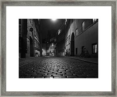 Framed Print featuring the photograph Misty Copenhagen Night by Inge Riis McDonald