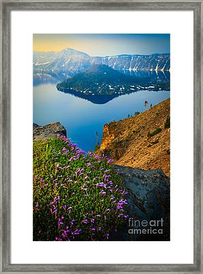 Misty Crater Lake Framed Print by Inge Johnsson