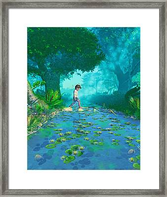Misty Crossing Framed Print