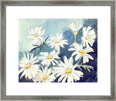 Framed Print featuring the painting Misty Daisies by Katherine Miller