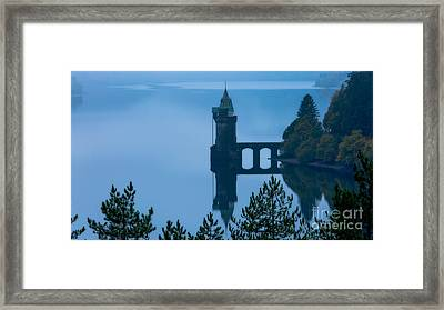 Misty Dawn And The Filter Tower Framed Print