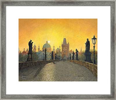 Misty Dawn Charles Bridge Prague Framed Print by Richard Harpum