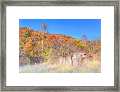 Misty Fall Morning In The Valley - North Georgia Framed Print by Mark E Tisdale