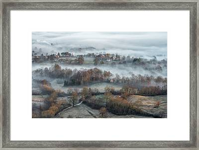 Misty Fields Framed Print