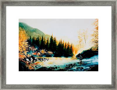 Misty Fishing Morning Framed Print
