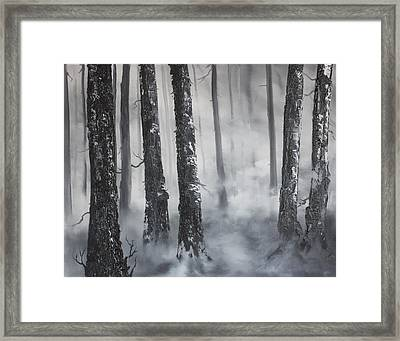 Framed Print featuring the painting Misty Forest by Jean Walker