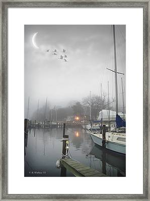 Misty Harbor Lights Framed Print by Brian Wallace