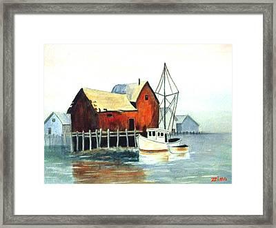 Misty Harbor Framed Print by Zelma Hensel