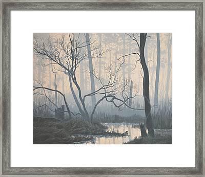 Misty Hideaway -  Wood Duck Framed Print