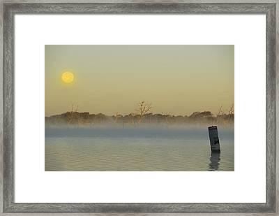 Misty Lake Framed Print by Charles Beeler