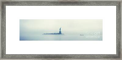 Misty Liberty Framed Print by Nishanth Gopinathan