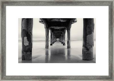 Misty Manhattan Pier Framed Print by Adam Pender