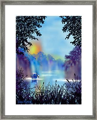 Misty Mooring Framed Print