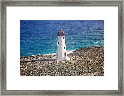 Misty Morning At Hog Island Lighthouse On Paradise Island Baham Framed Print