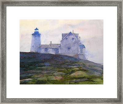 Misty Morning At Pemaquid Lighthouse Framed Print by William Beaupre