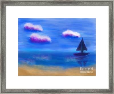 Misty Morning Beach Framed Print