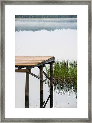 Misty Morning By The Dock Framed Print by Parker Cunningham