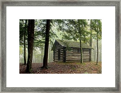 Framed Print featuring the photograph Misty Morning Cabin by Suzanne Stout
