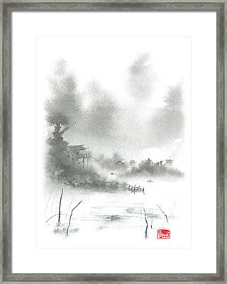 Framed Print featuring the painting Misty Morning Fishing Village by Sean Seal
